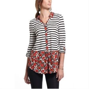 POSTMARK | Anthro Striped Floral Button Henley Top